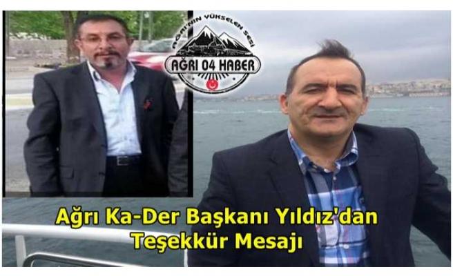 Ağrı KA-DER Başkanı Yıldız'dan Teşekkür Mesajı