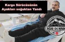 Ağrı da Seyir Halindeki Araçta Ayakları Donan Sürücü Hastaneye Yatırıldı