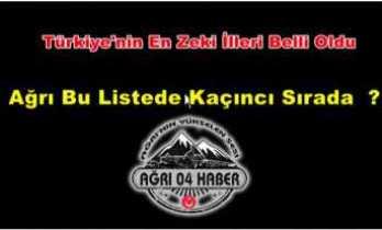 Türkiye'nin En Zeki İlleri Belli Oldu,Ağrı Kaçıncı Sırada